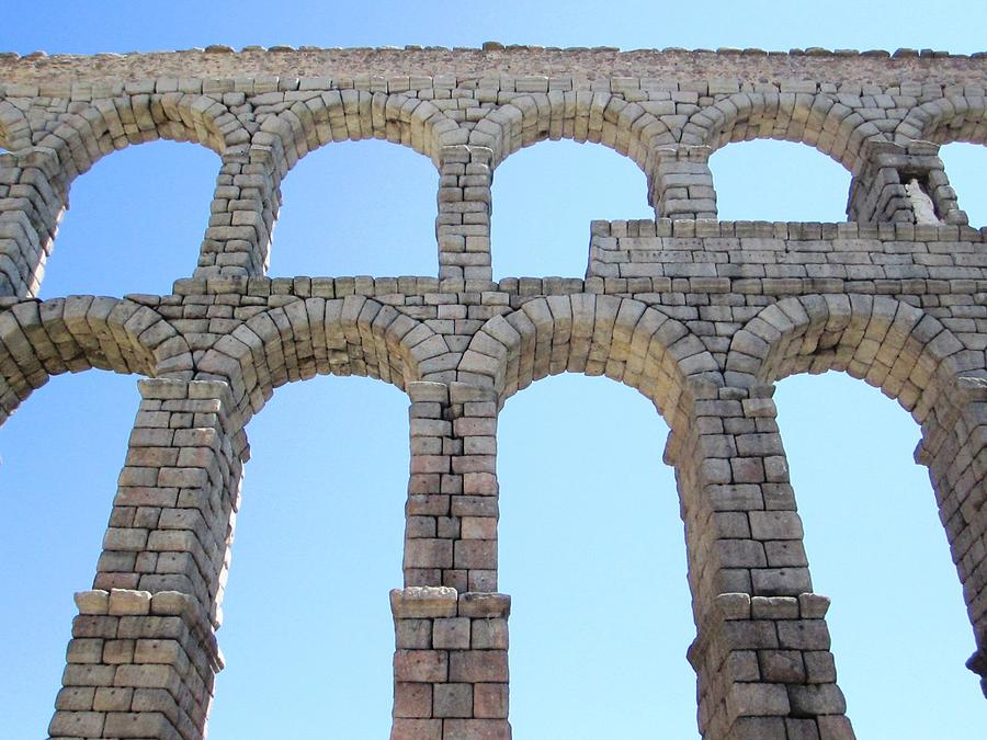 Segovia Ancient Roman Aqueduct Architectural Granite Stone Structure Vi With Arches In Sky Spain ...