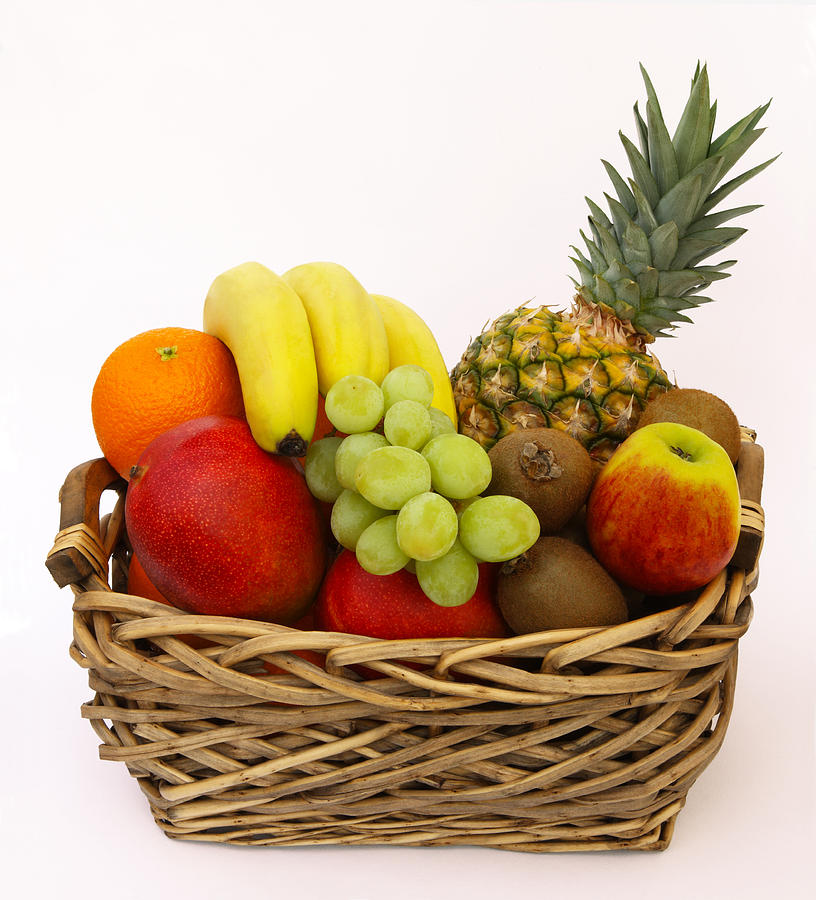 Vertical Photograph - Selection Of Tempting Fresh Fruits In A Basket by Rosemary Calvert