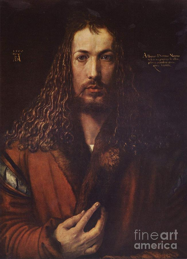 Pd Painting - Self Portrait  Durer by Pg Reproductions