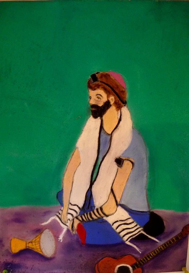 Jewish Pastel - Self-portrait by Eliezer Sobel