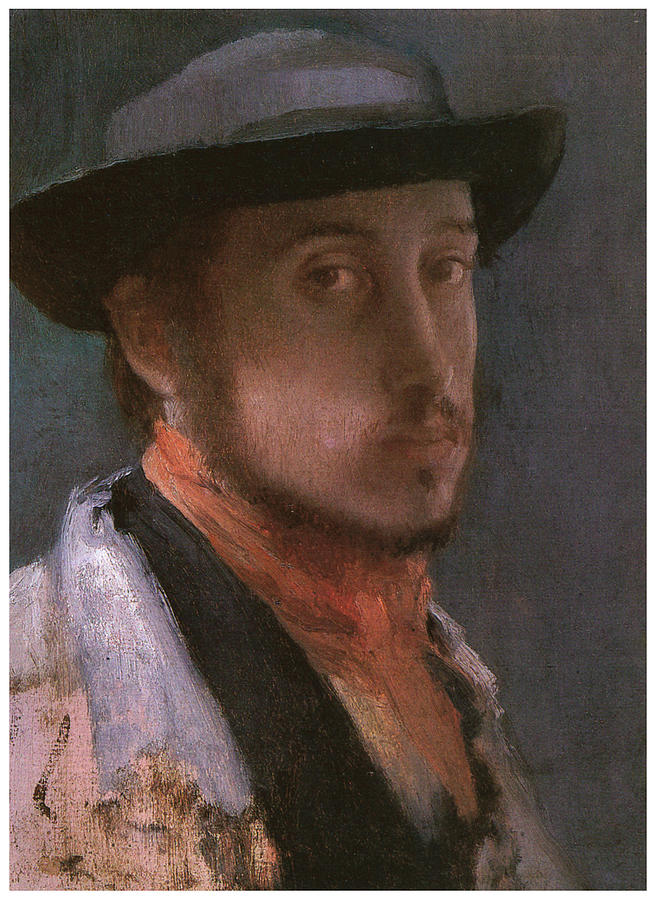Self Portrait Painting - Self-portrait In A Soft Hat by Edgar Degas