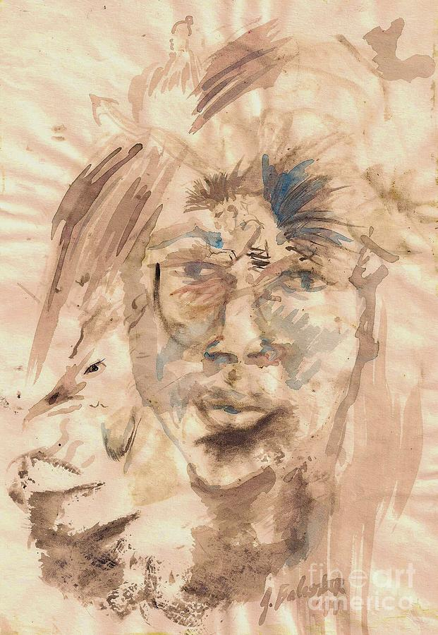 Self Portrait Ink And Beet Painting by Jamey Balester