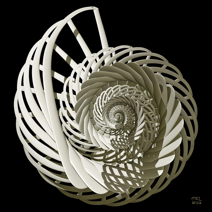 Computer Digital Art - Self-referentially Braided Shell by Manny Lorenzo