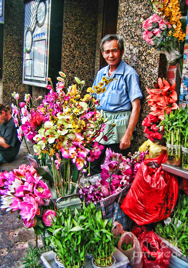 Man Photograph - Selling Flowers In Chinatown by Anne Ferguson