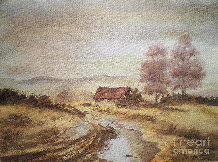 Watercolour Painting - Selo Poslije Kise by Eleonora Perlic