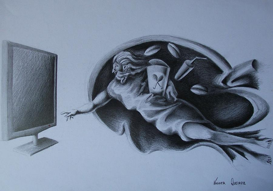 Television Drawing - Sem Controle by Vagner Queiroz