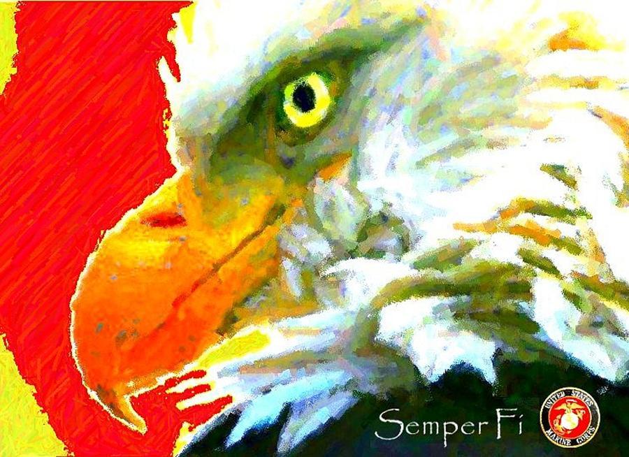 Bald Eagle Digital Art - Semper Fi by Carrie OBrien Sibley