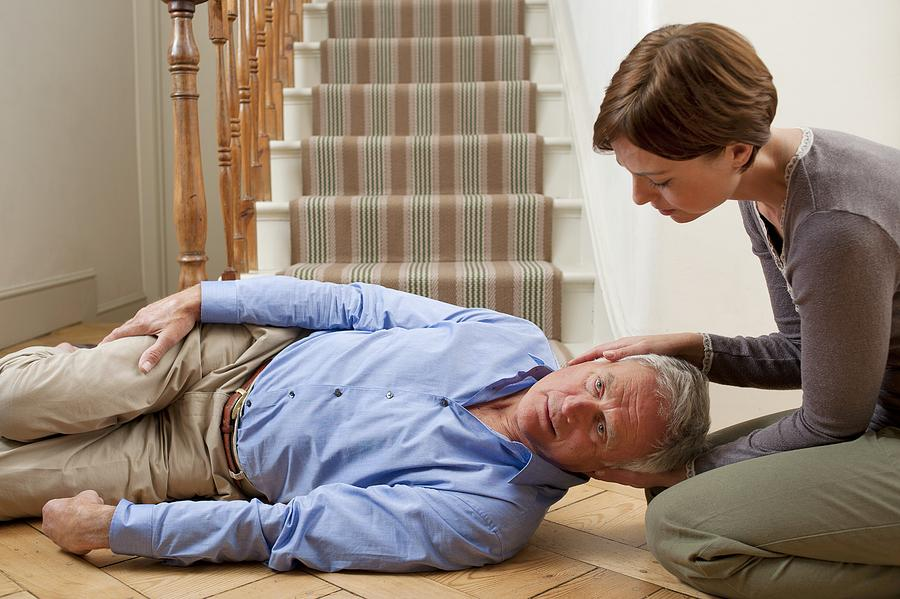 Healthcare Photograph - Senior Man Injured In A Fall by