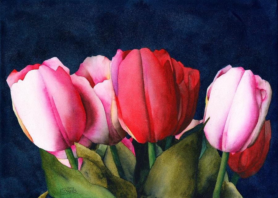 Sennelier Painting - Sennelier Tulips by Ken Powers