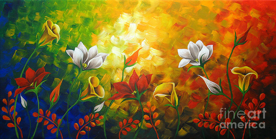 Sentient Flowers Painting by Uma Devi