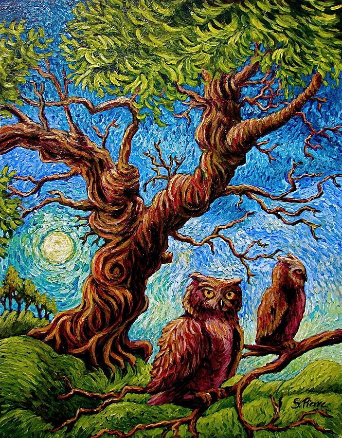 Trees Painting - Sentient Owls by Sebastian Pierre
