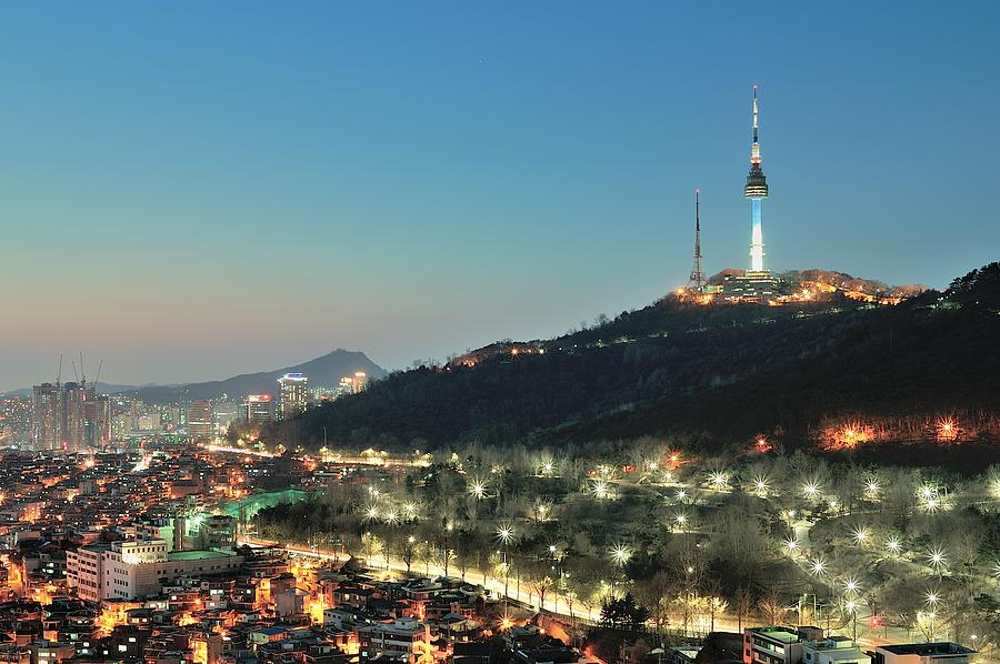 Horizontal Photograph - Seoul Tower At Night by Tokism