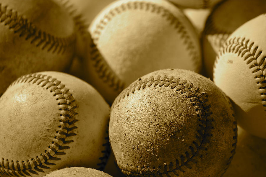 Can Of Corn Photograph - Sepia Baseballs by Bill Owen