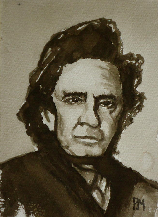 Johnny Cash Painting - Sepia Johnny II by Pete Maier
