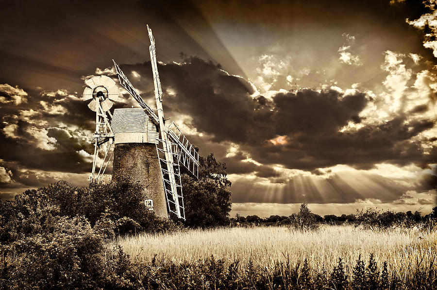 Windmill Photograph - Sepia Sky Windmill by Meirion Matthias