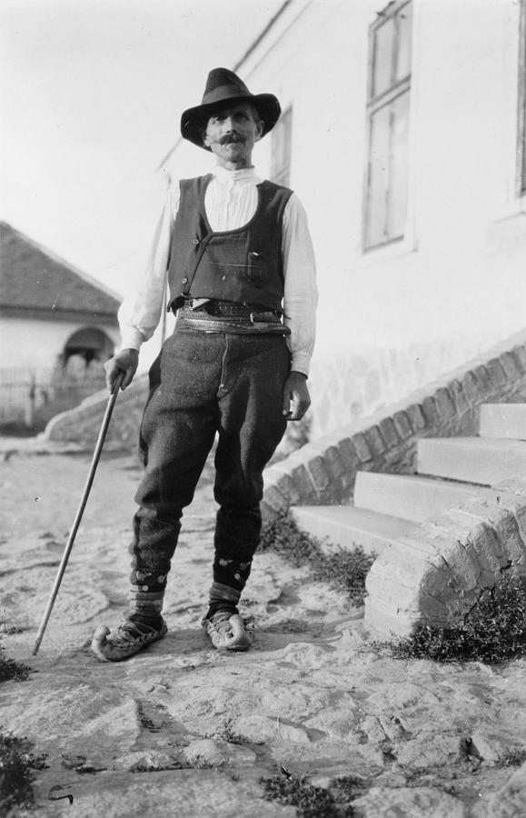 1880s Photograph - Serbian Man Wearing Hat, Vest, Belted by Everett