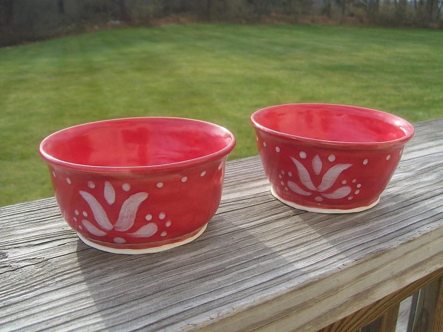 Bowl Ceramic Art - Set Of Small Red Bowls by Monika Hood