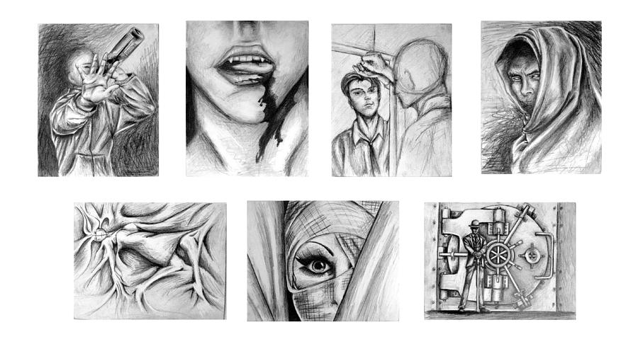Seven Drawing - Seven Deadly Sins by Steven  Burkett