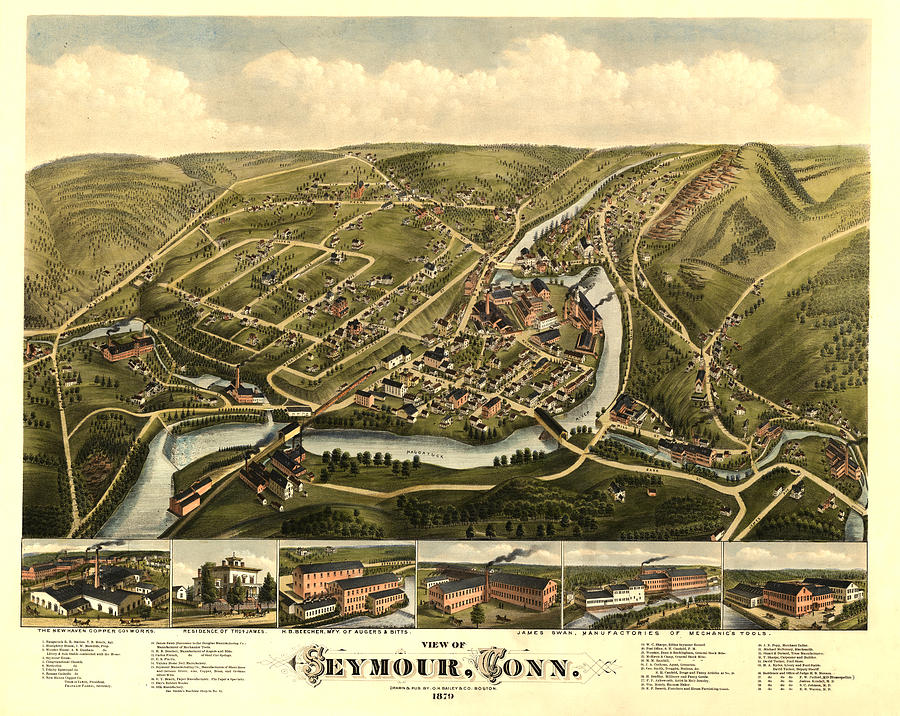 Panoramic Map Digital Art - Seymour Connecticut 1879 by Donna Leach