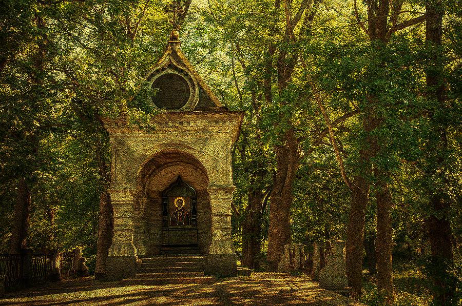 Chapel Photograph - Shaded Chapel. Golden Green Series by Jenny Rainbow