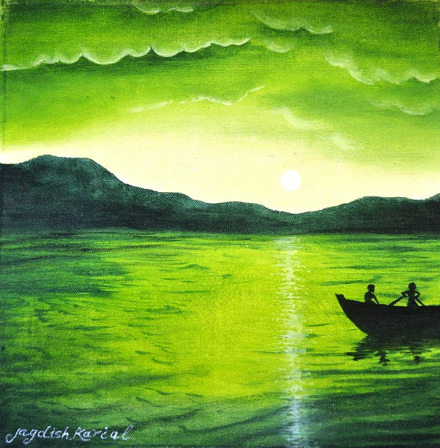 Shades Of Green Painting By Jagdish Karial