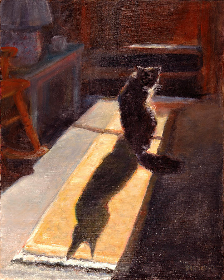 Cat Painting - Shadow Cat by Rita Bentley