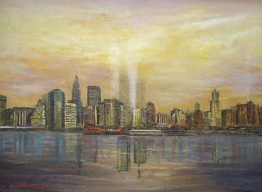 New York City Twin Towers Painting - shadows of the New York towers by  Luczay