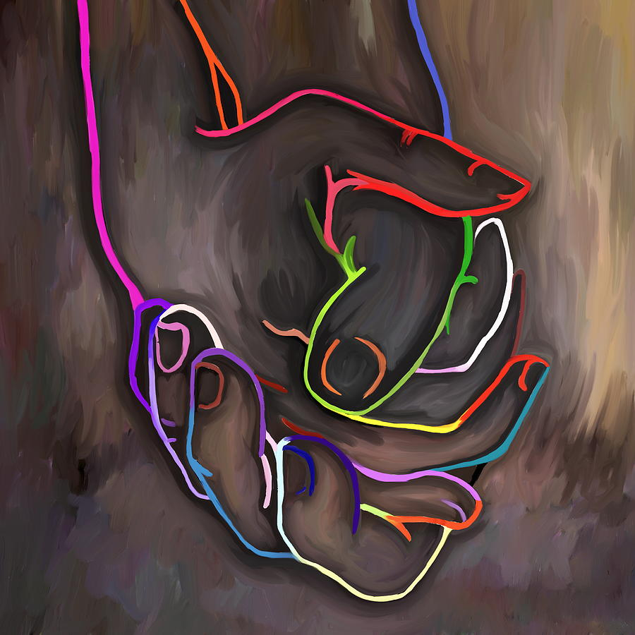 Hands Painting - Shaking Hands by Amarok A