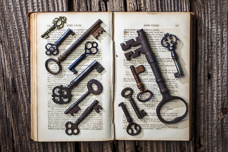 Key Photograph - Shakspeare King Lear And Old Keys by Garry Gay