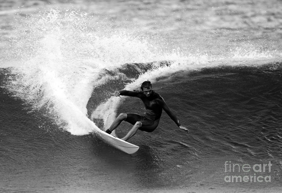 Surfing Photograph - Shane Surf Carving In Black And White by Paul Topp