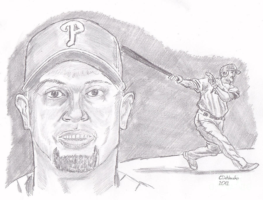 Phillies Drawing - Shane Victorino- Flying Hawaiian by Chris  DelVecchio
