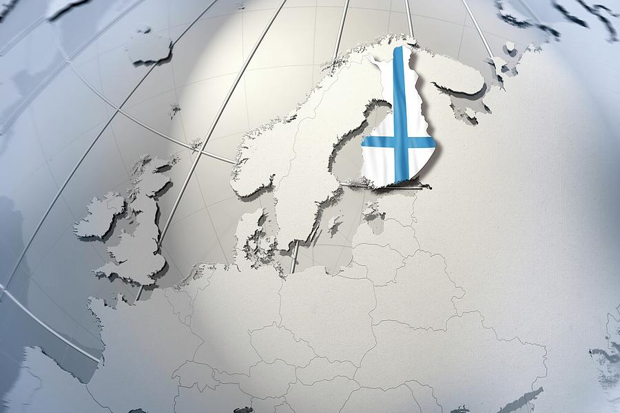 Horizontal Digital Art - Shape And Ensign Of Finland On A Globe by Dieter Spannknebel