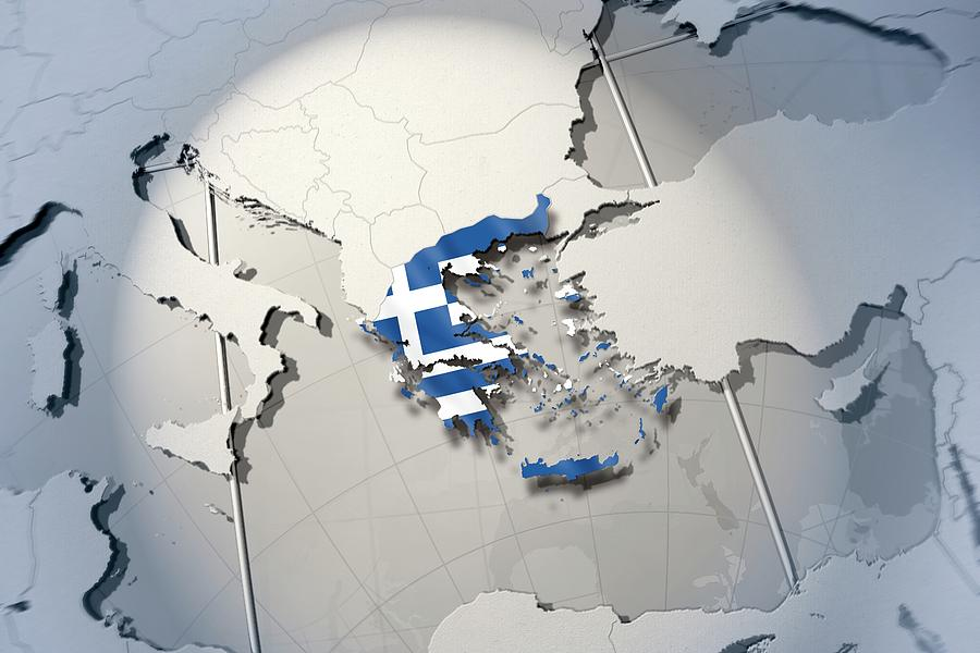 Horizontal Digital Art - Shape And Ensign Of Greece On A Globe by Dieter Spannknebel