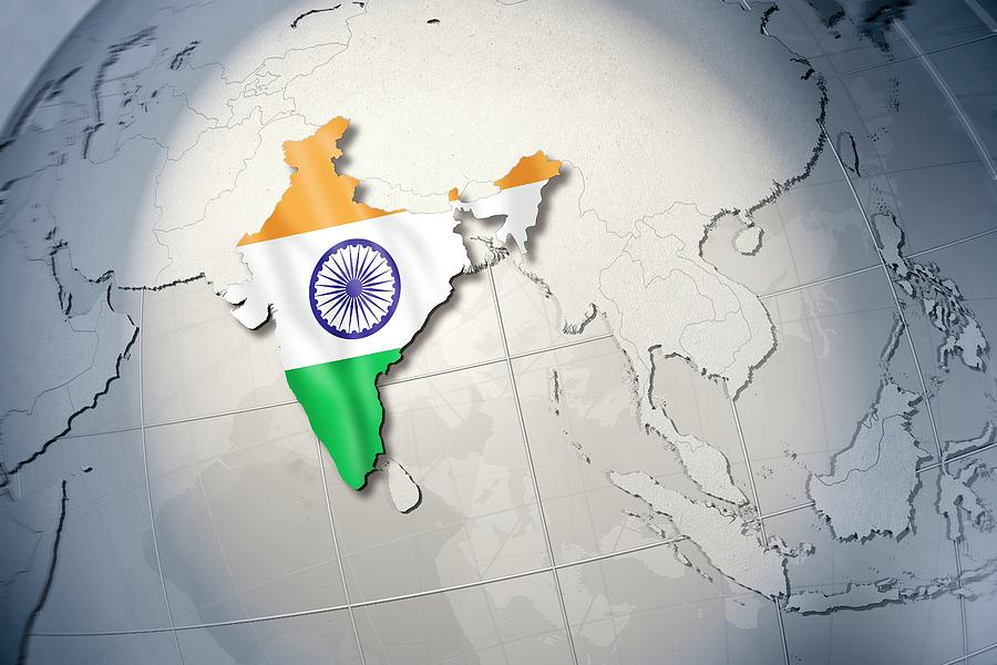 Horizontal Digital Art - Shape And Ensign Of India On A Globe by Dieter Spannknebel