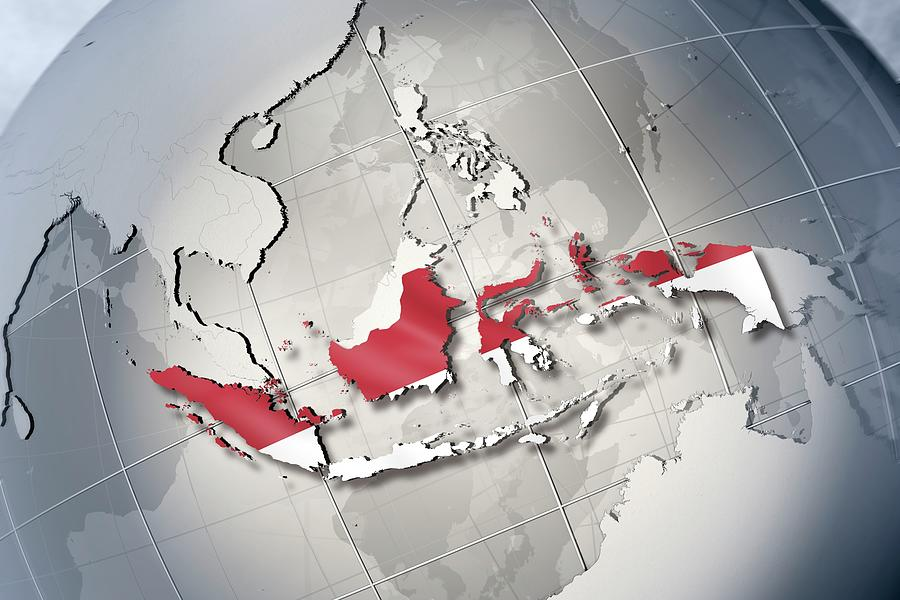 Horizontal Digital Art - Shape And Ensign Of Indonesia On A Globe by Dieter Spannknebel