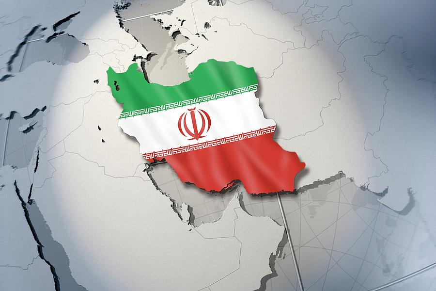 Horizontal Digital Art - Shape And Ensign Of Iran On A Globe by Dieter Spannknebel