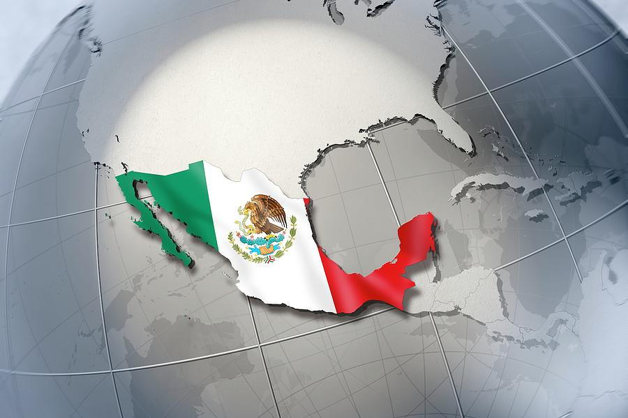 Horizontal Digital Art - Shape And Ensign Of Mexico On A Globe by Dieter Spannknebel