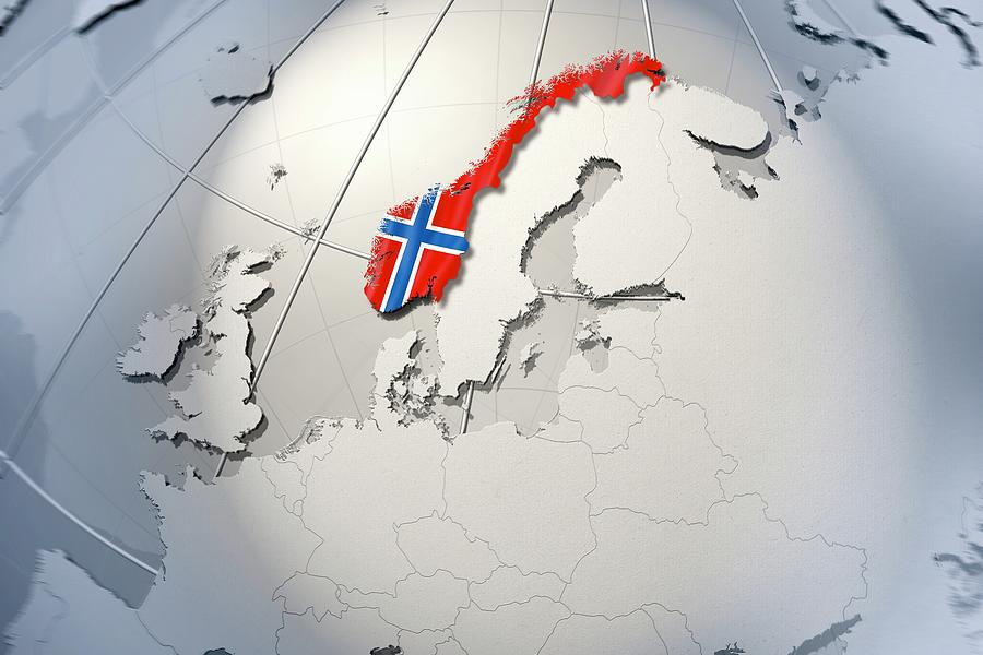 Horizontal Digital Art - Shape And Ensign Of Norway On A Globe by Dieter Spannknebel