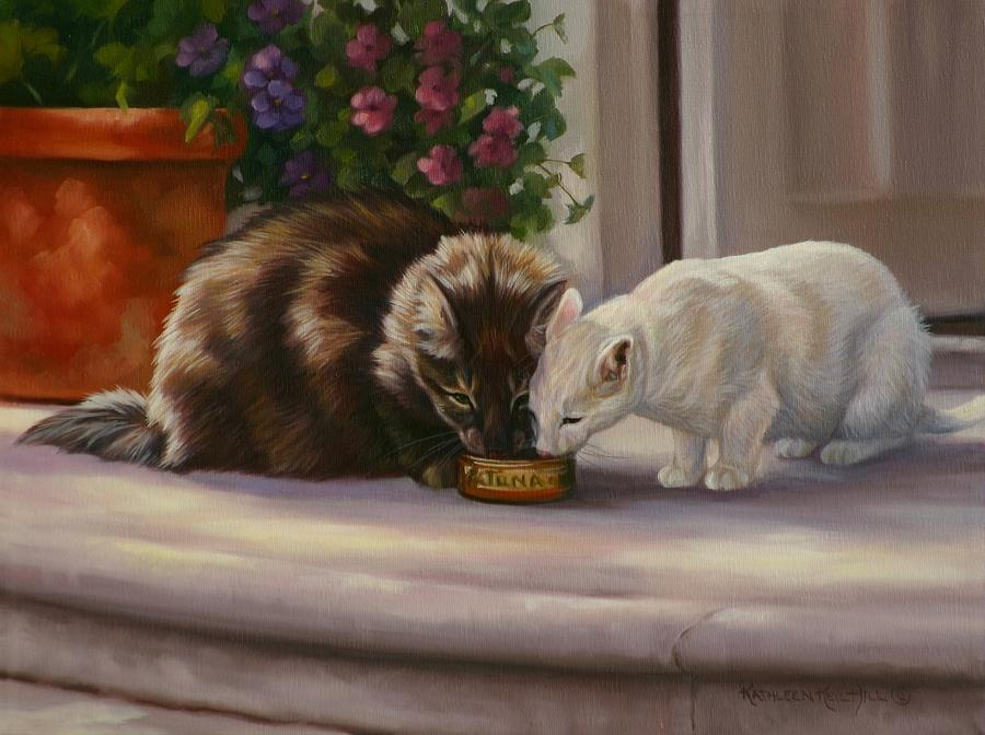 Cats Painting - Sharing by Kathleen  Hill