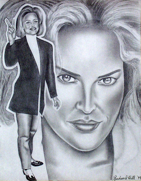 Portraits Drawing - Sharon Stone by Rick Hill