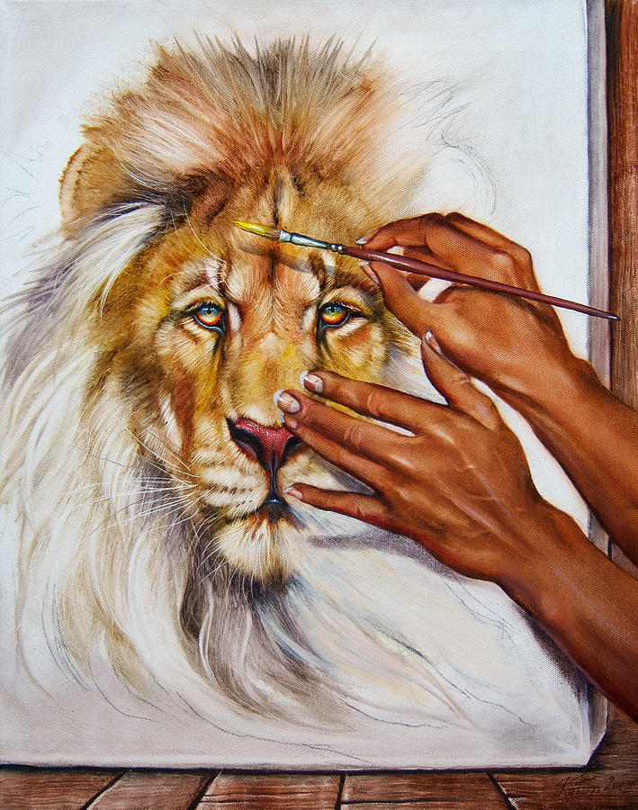 Lion Painting - She Paints Him  by Martin Katon