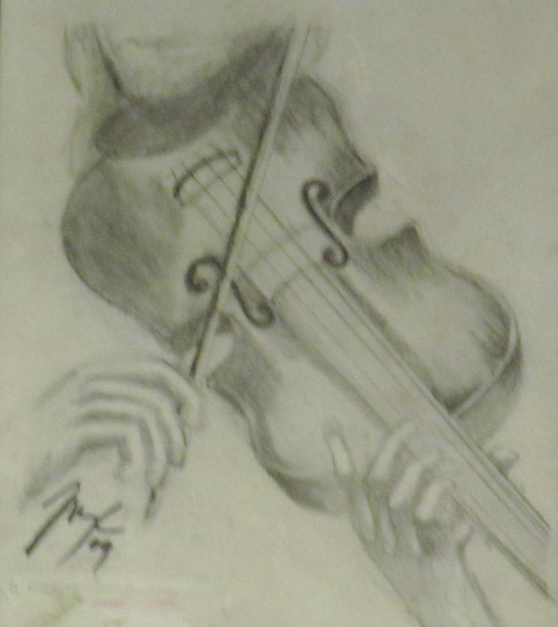 Pencil Sketch Painting - She Plays Music by Mark Rehburg