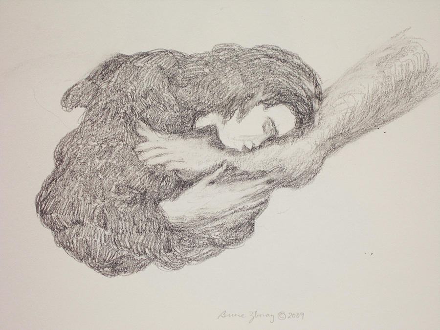 Feet Drawing - She Wiped His Feet With Her Hair by Bruce Zboray