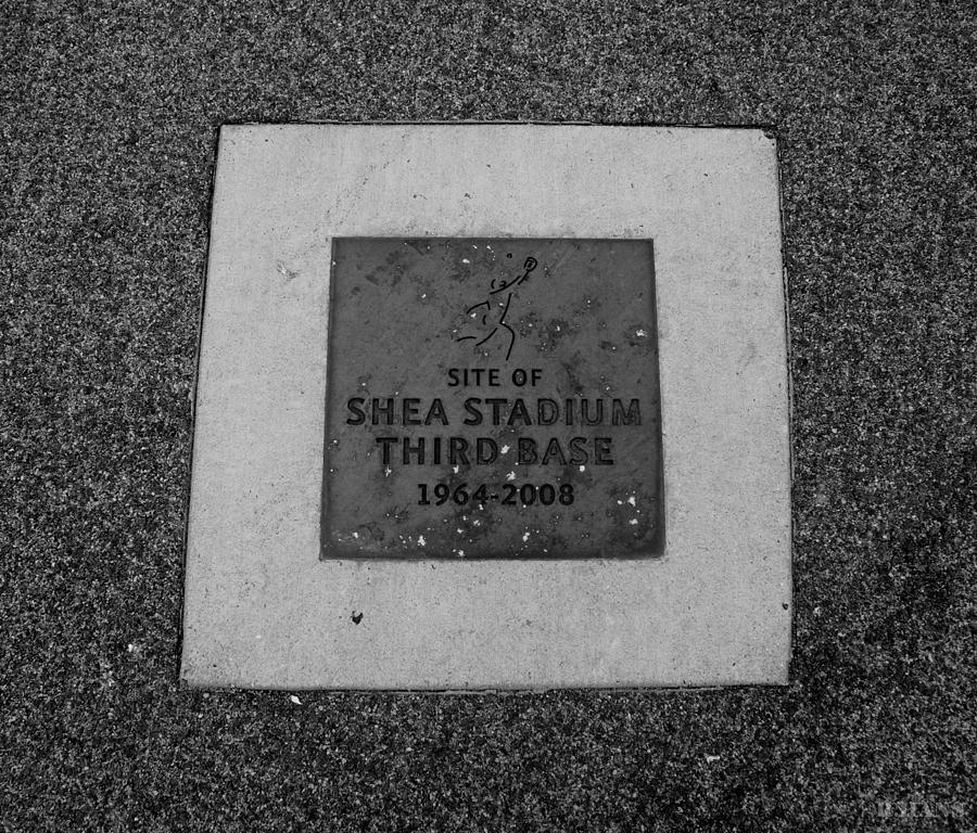 Shea Stadium Photograph - Shea Stadium Third Base In Black And White by Rob Hans