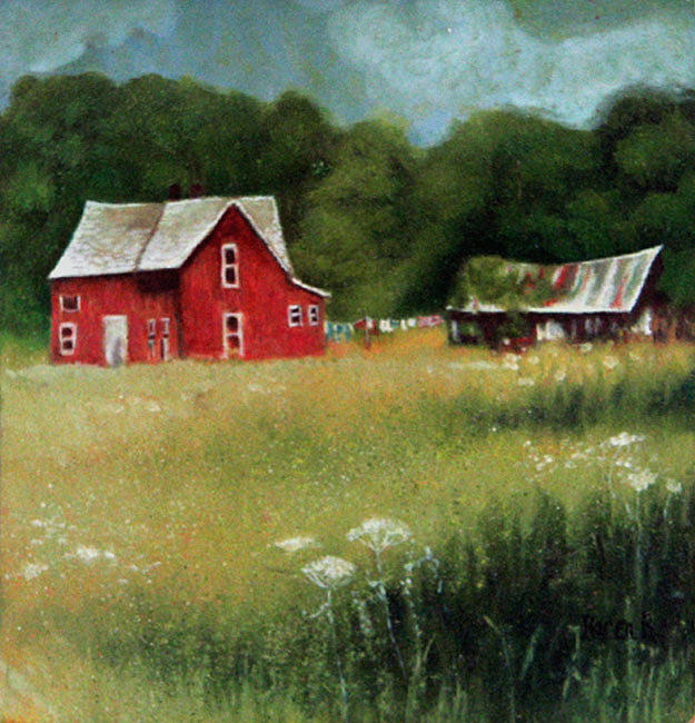 Old House Painting - Shed Out Back by Karen Roncari