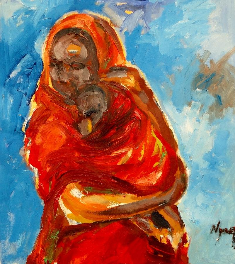 Portrait  Painting - Sheltering .. by Negoud Dahab