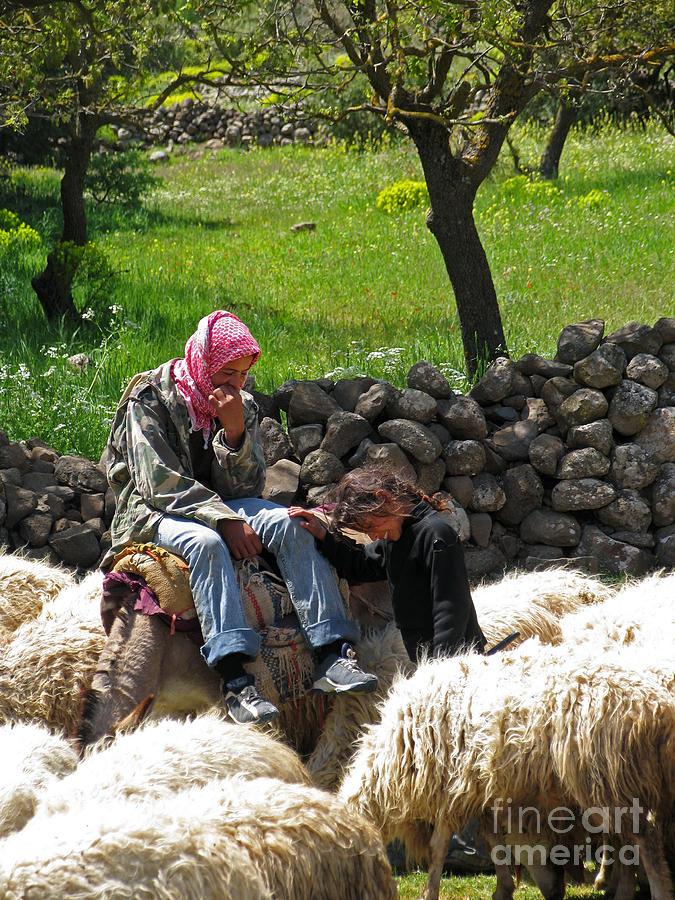 Syria Photograph - shepherds in Golan by Issam Hajjar