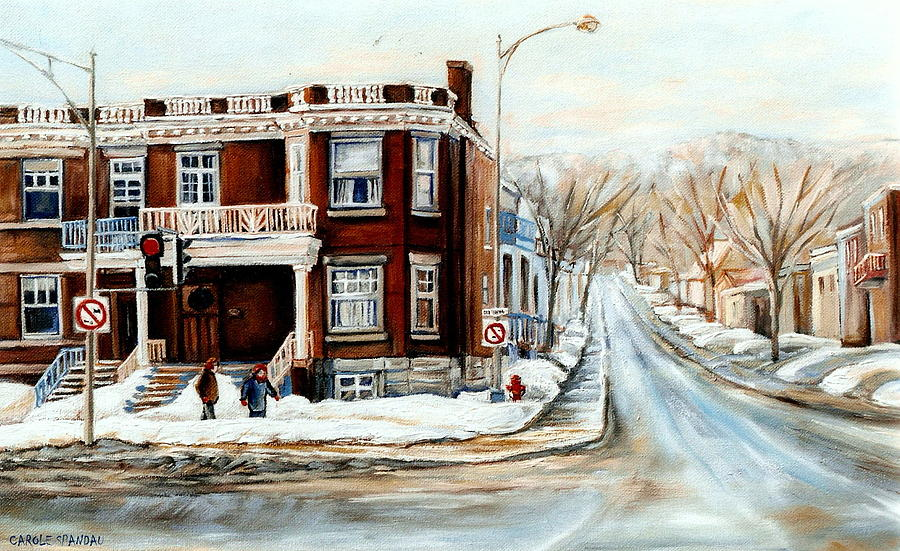 sherbrooke street in winter montreal city scene painting