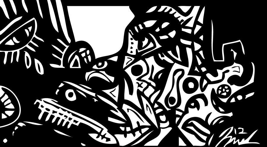 Popstract Digital Art - Shhhhhhhhh by Kamoni Khem