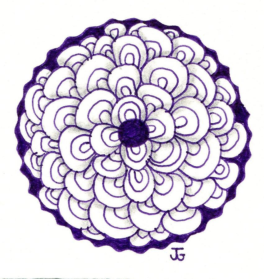 Shiny Purple Lotus Flower Drawing By Jennifer C Griffen